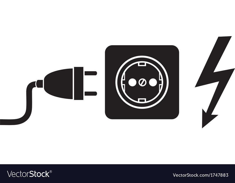 Power plug power outlet and lightning symbol Royalty Free Vector ...