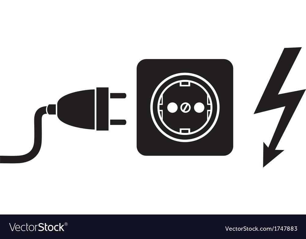 Power Plug Outlet And Lightning Symbol Vector Image