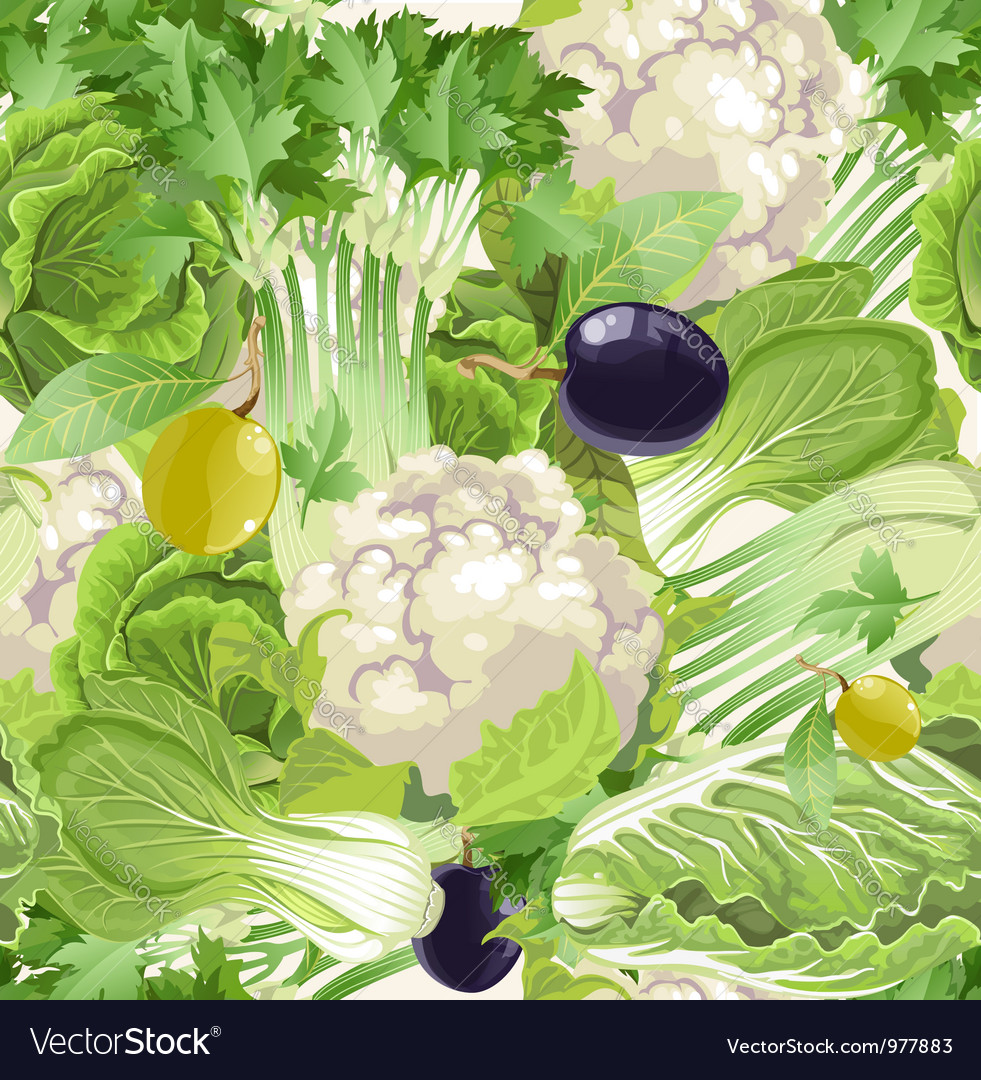 Seamless pattern of green vegetables celery vector image
