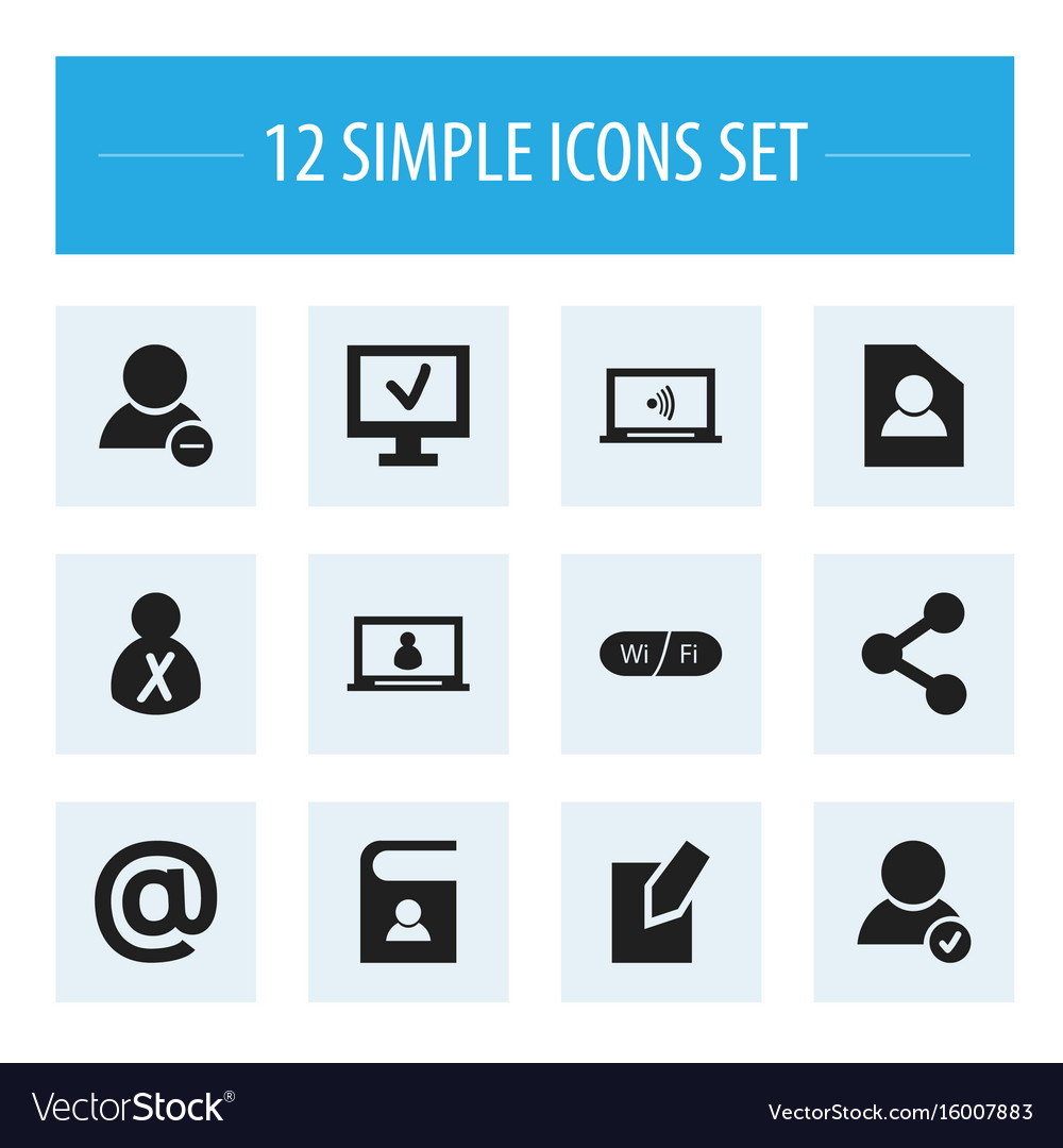 Set of 12 editable web icons includes symbols vector image