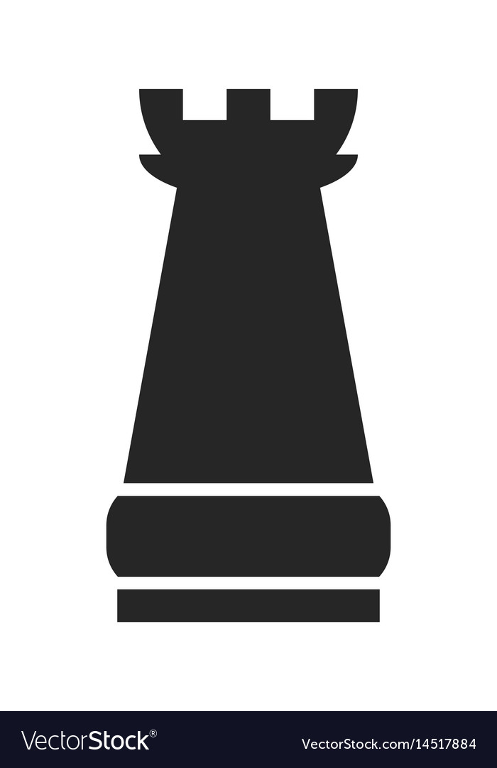 Castle flat black icon object of chess pieces vector image