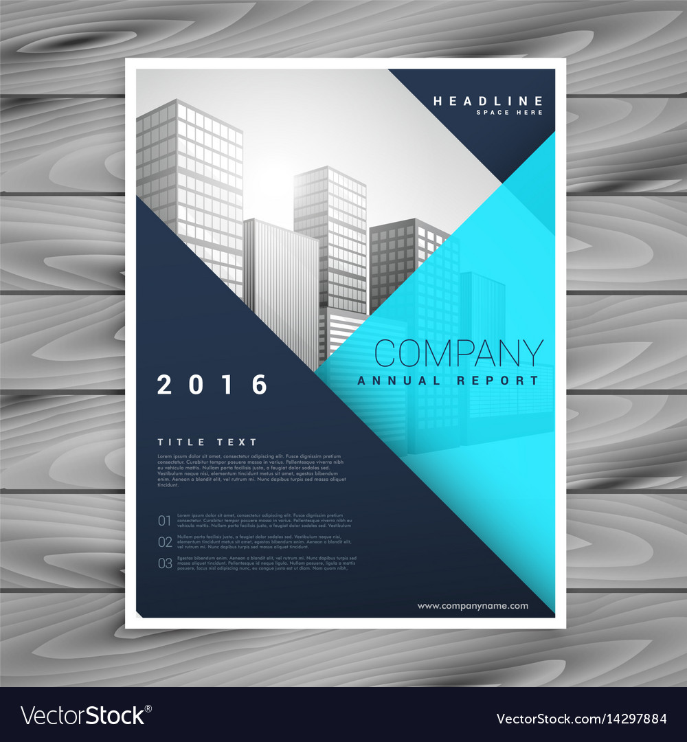 Modern minimal brochure flyer template in blue Vector Image