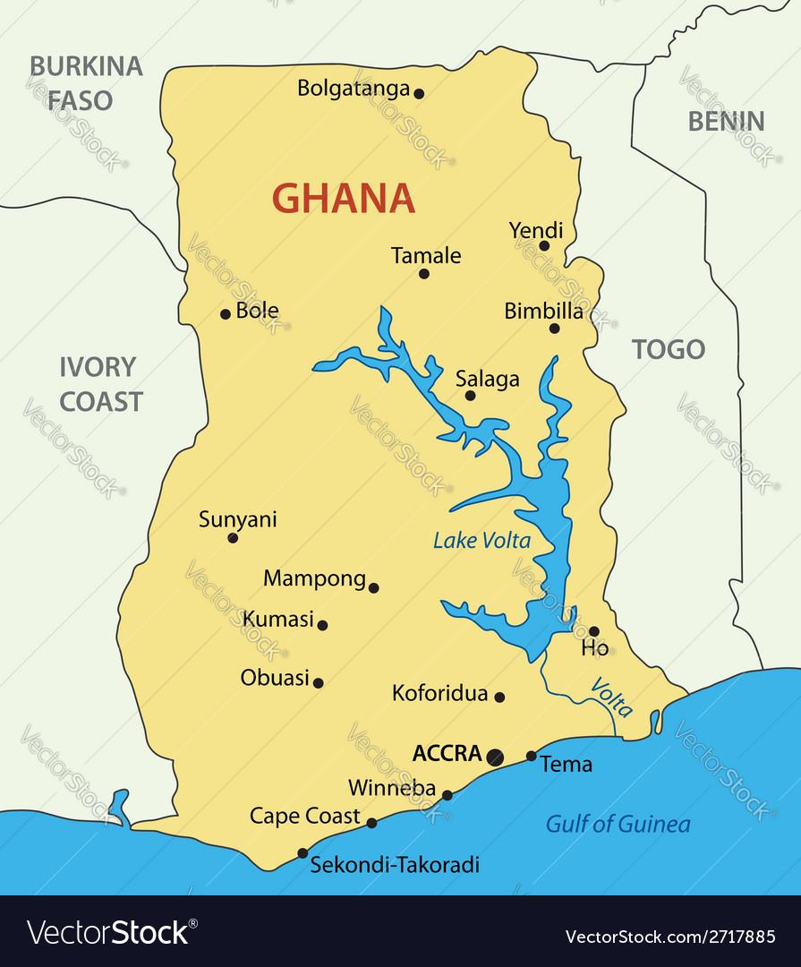 Ghana map Royalty Free Vector Image VectorStock