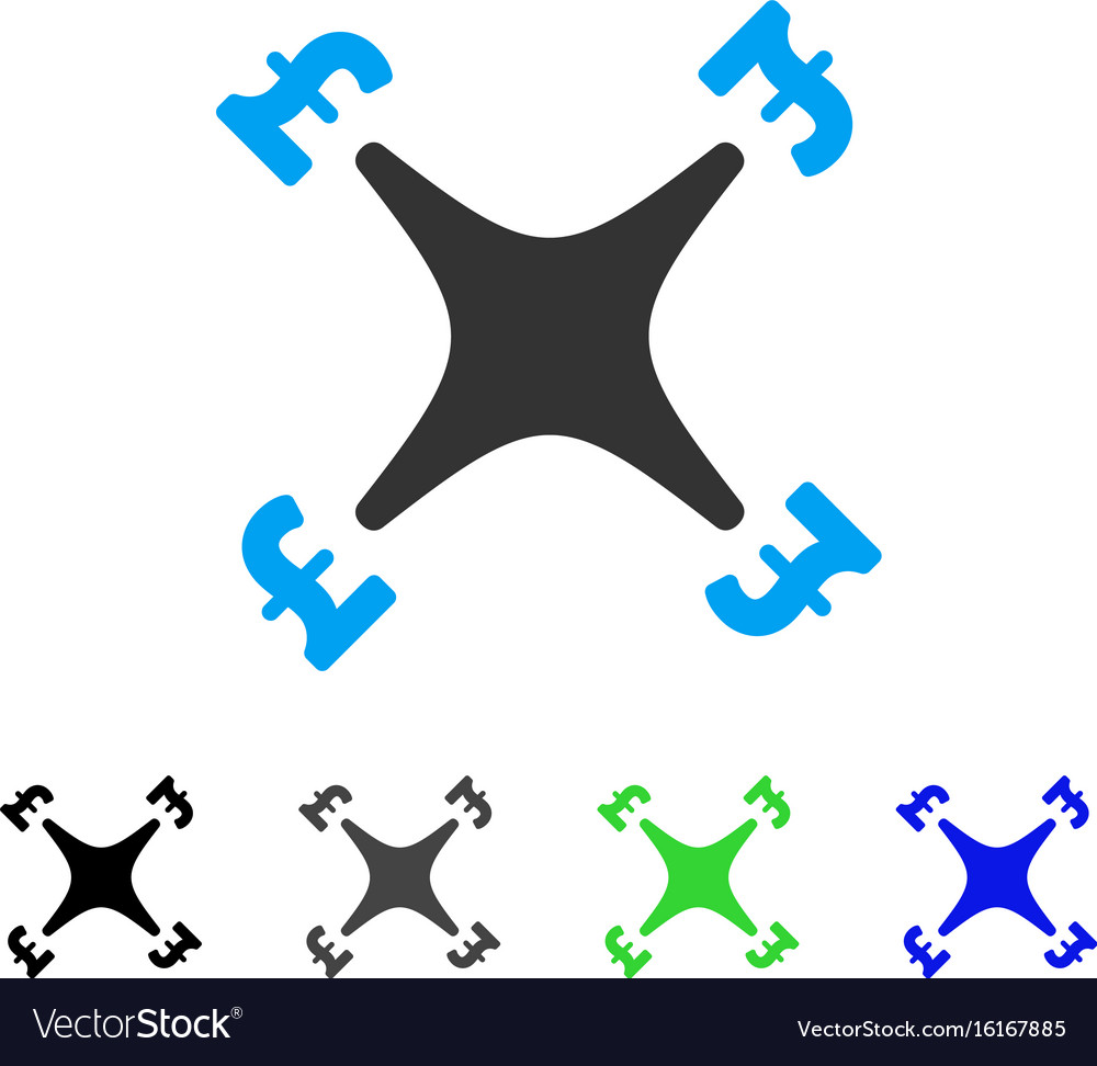 Pound business drone flat icon vector image