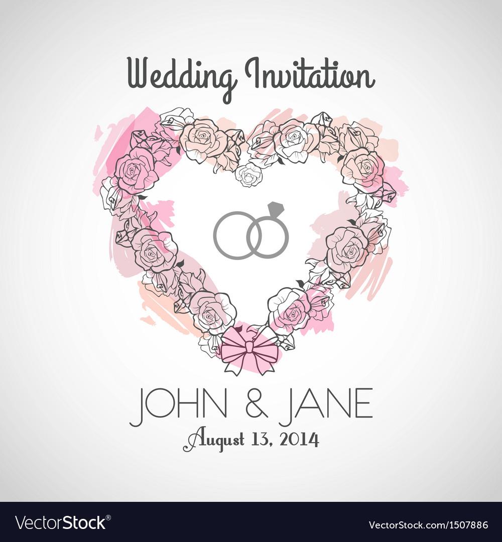 Heart Wedding Invitation vector image