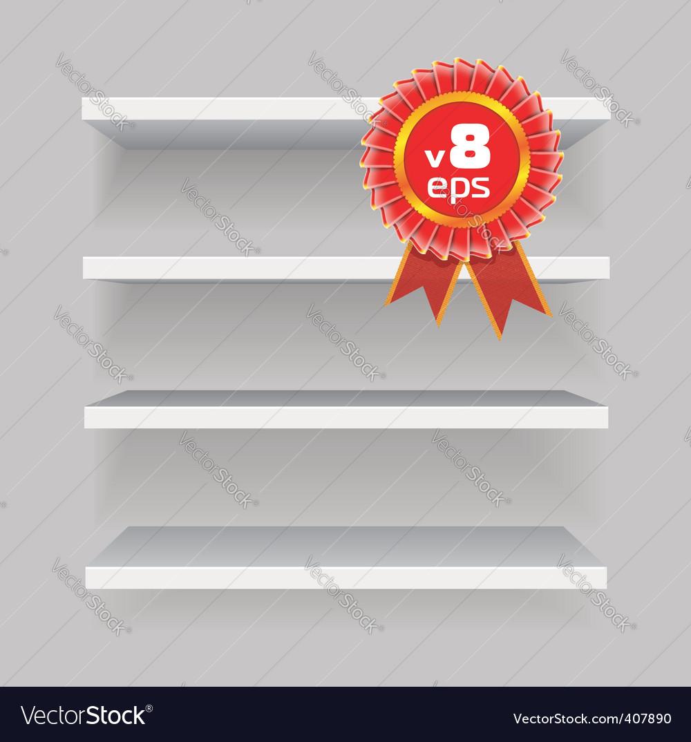 Shelves on gray background vector image