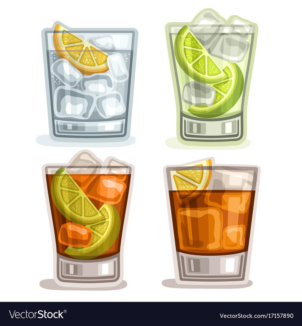 Set of short drinks vector image