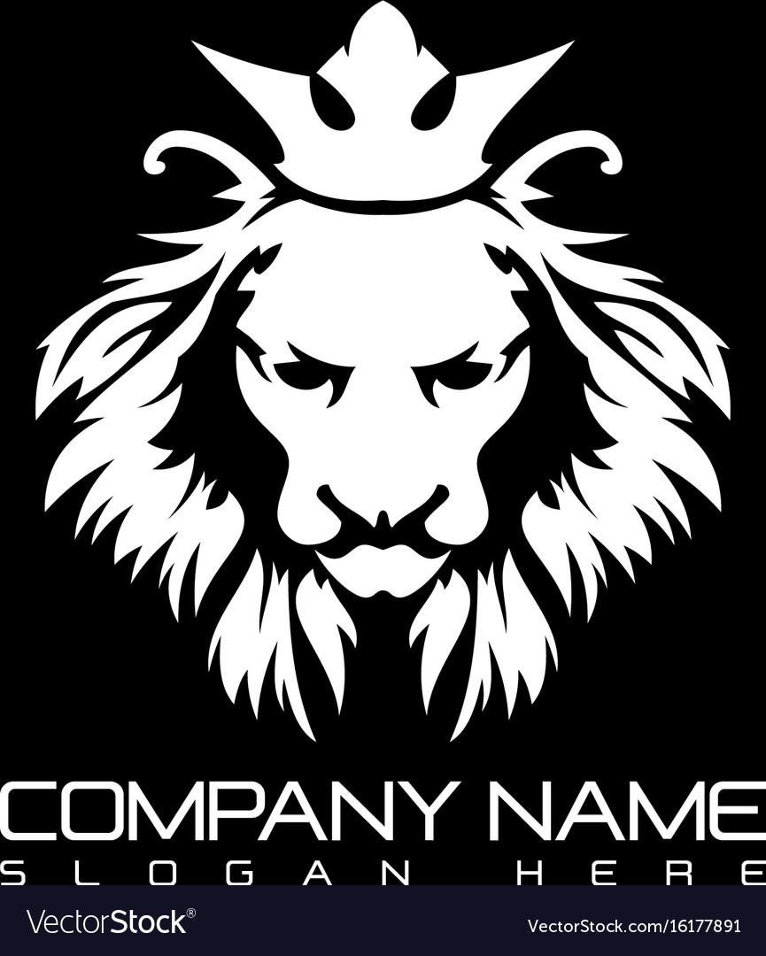 lion head logo design royalty free vector image