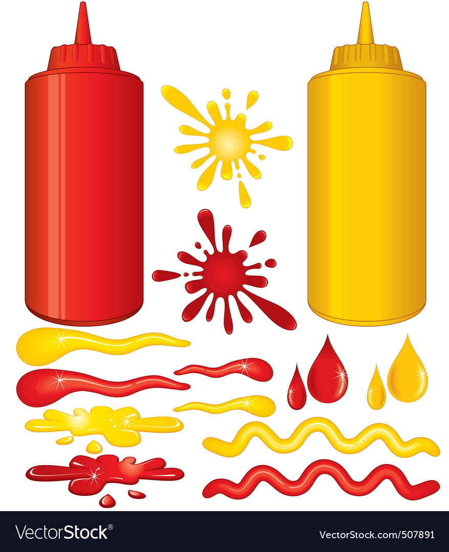 Ketchup and mustard vector image