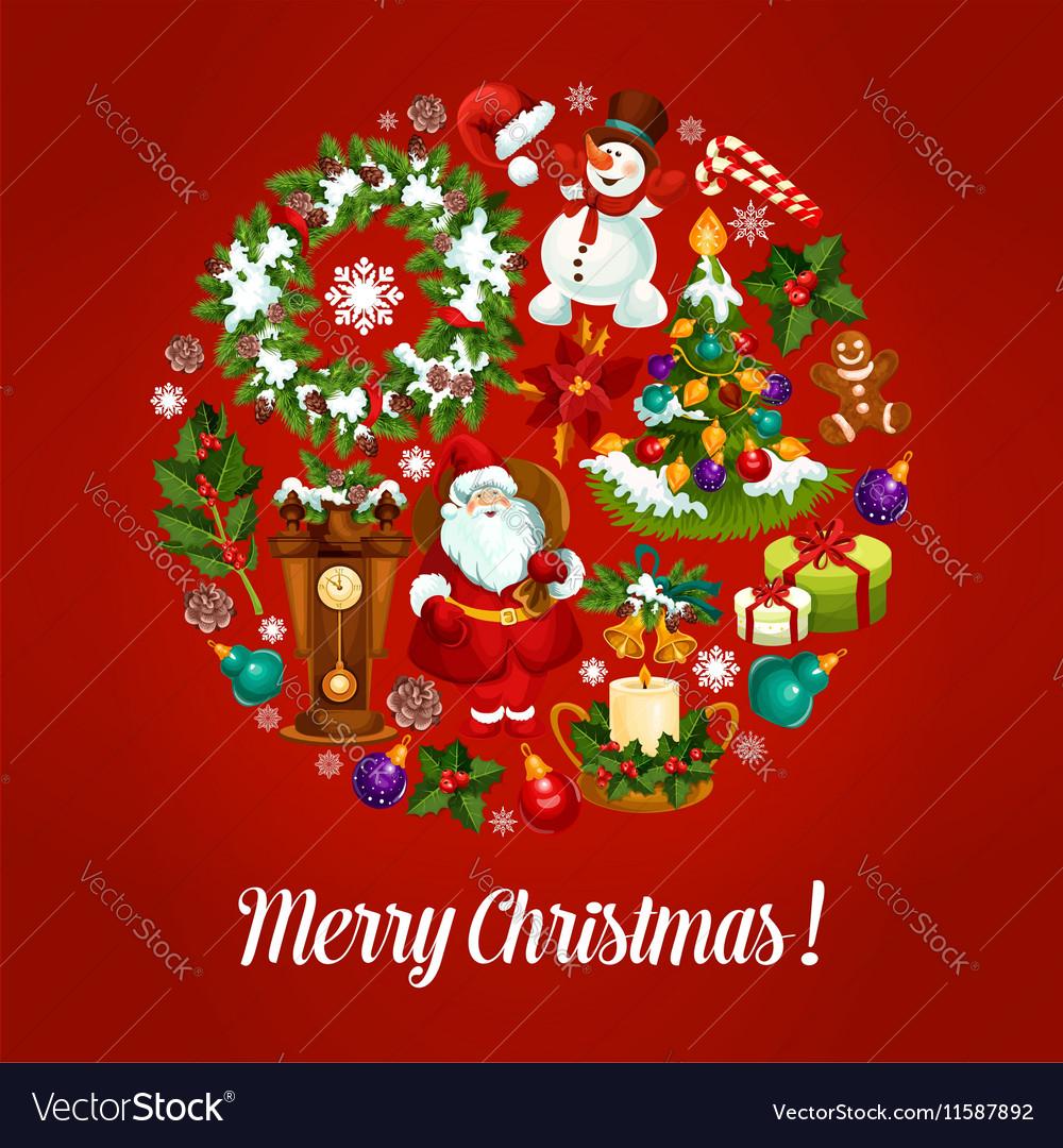 Christmas greeting card with xmas symbols circle vector image christmas greeting card with xmas symbols circle vector image biocorpaavc