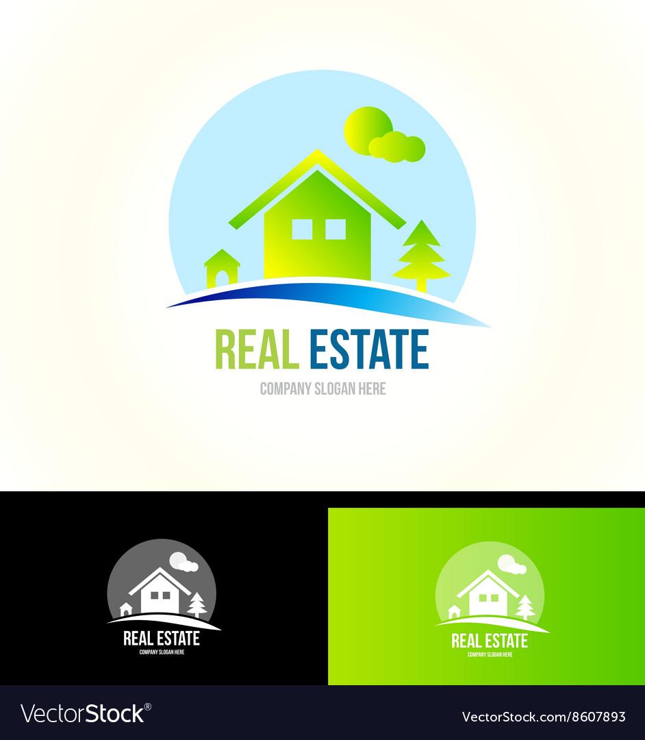 Mountain cabin real estate house logo icon vector image