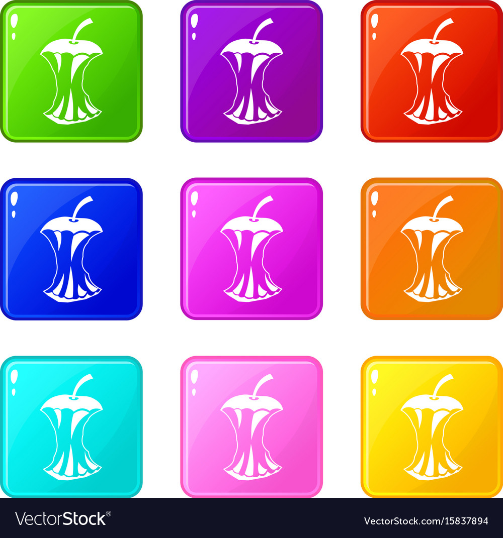Apple core icons 9 set vector image