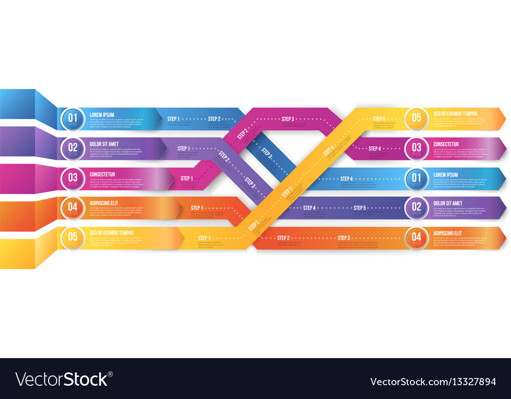 Infografics arrows shuffled vector image