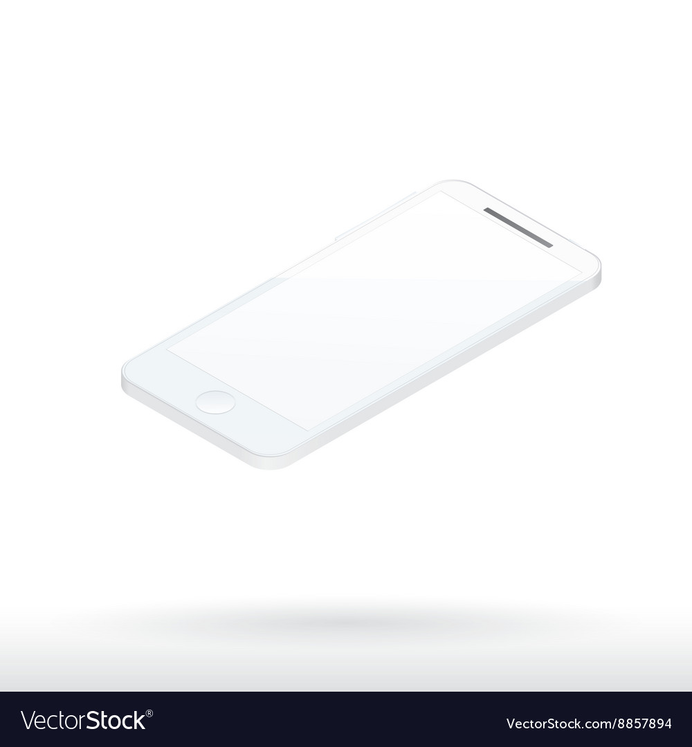 Realistic white mobile phone with blank screen 3d vector image