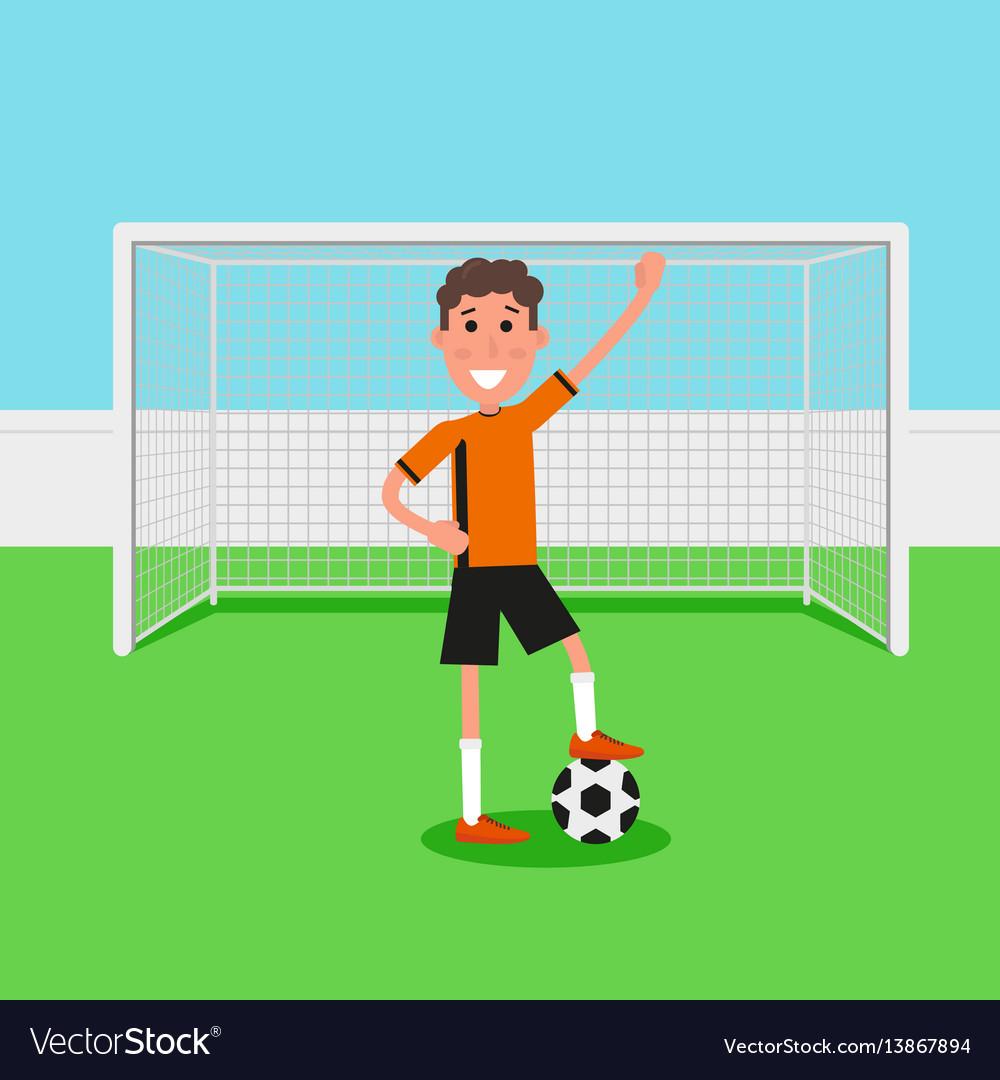 Soccer goalkeeper keeping goal on arena athlete vector image