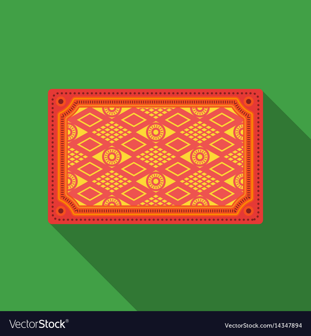 Turkish Carpet Icon In Flate Style Isolated On Vector Image