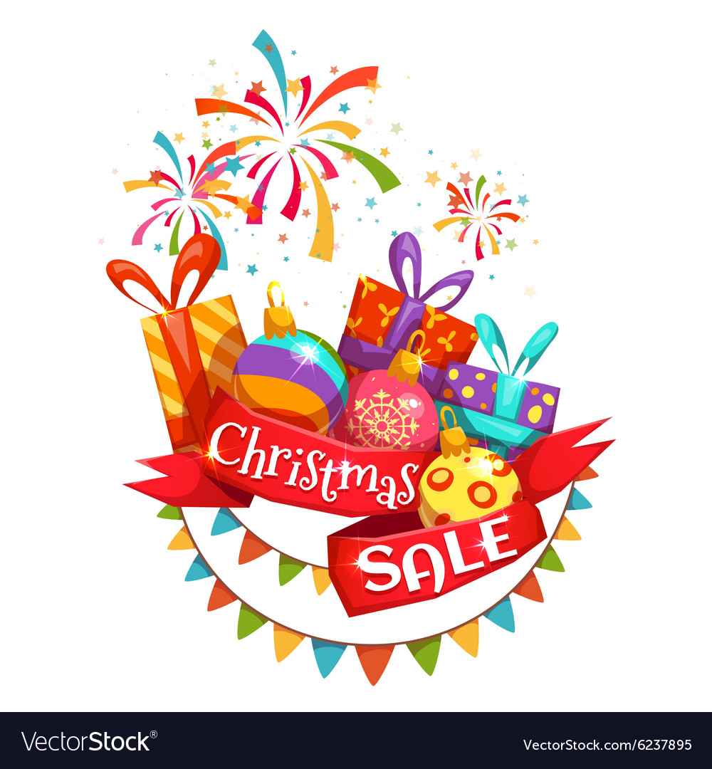 Christmas sale banner with ribbon and firework vector image