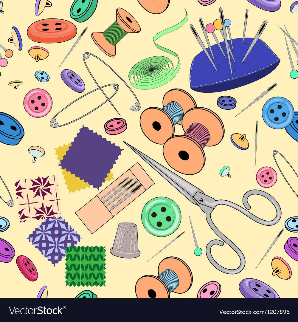 Seamless pattern with sewing stuff vector image