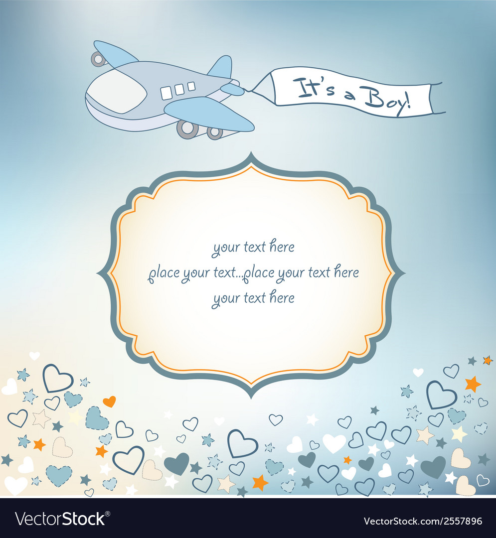 Baby Boy Announcement Card With Airplane Vector Image - Boy announcement