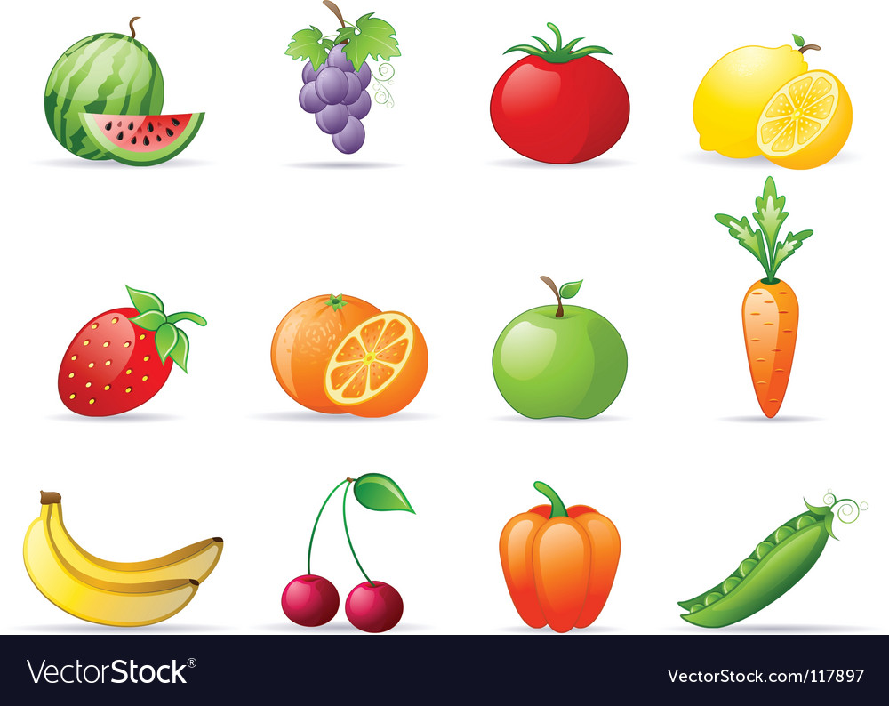 fruit and vegetables royalty free vector image