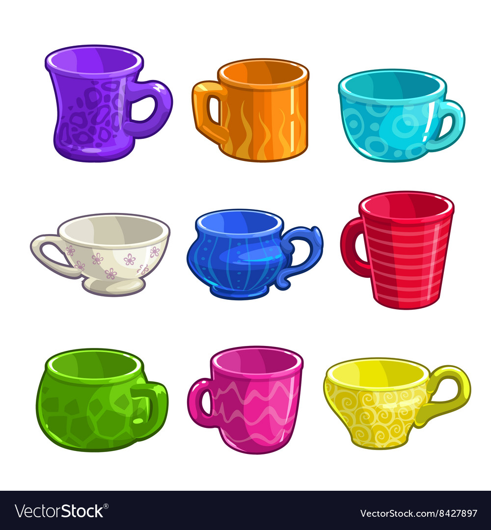 Funny cartoon colorful tea and coffee cups vector image