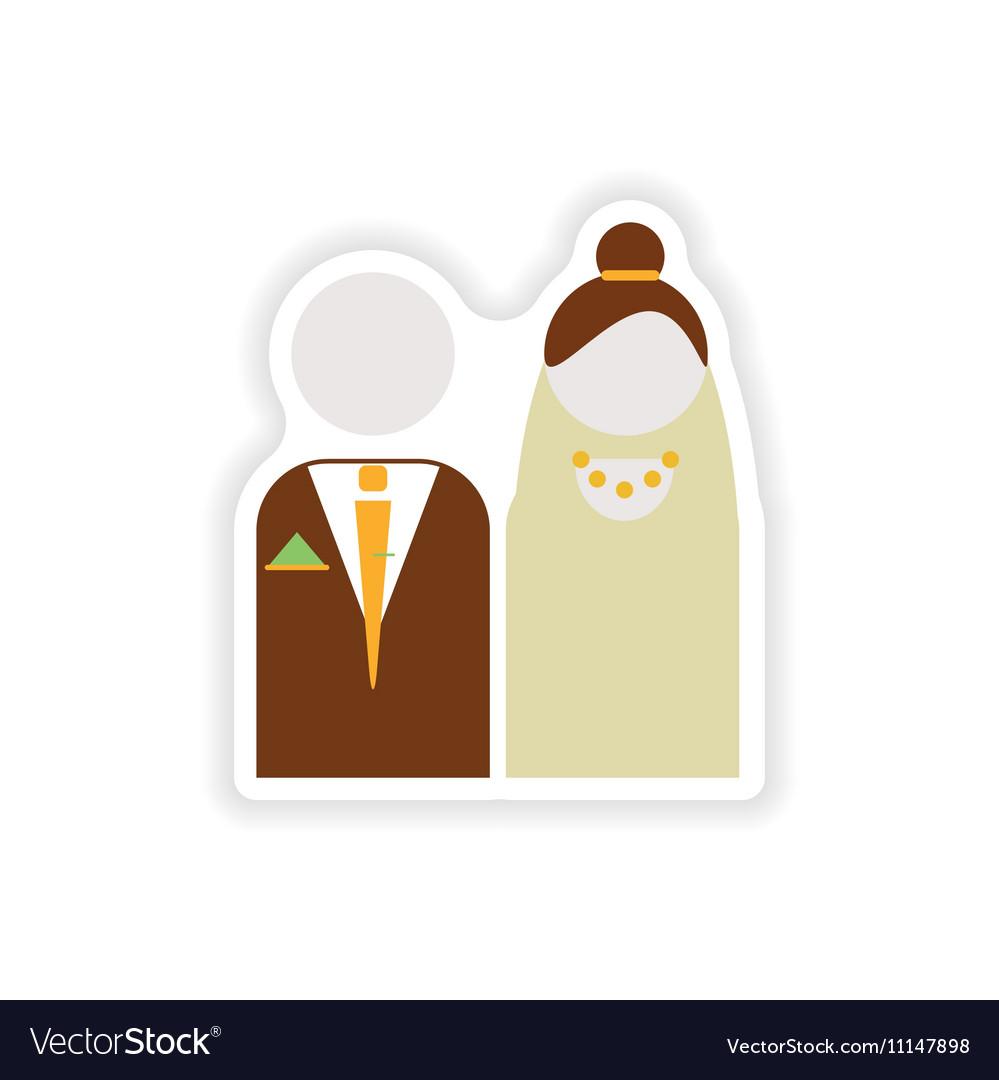 Stylish paper sticker on white background bride