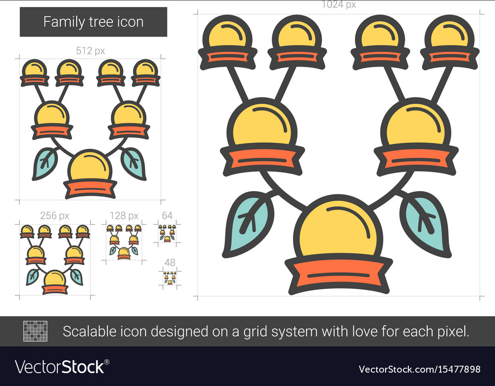 Family tree line icon vector image