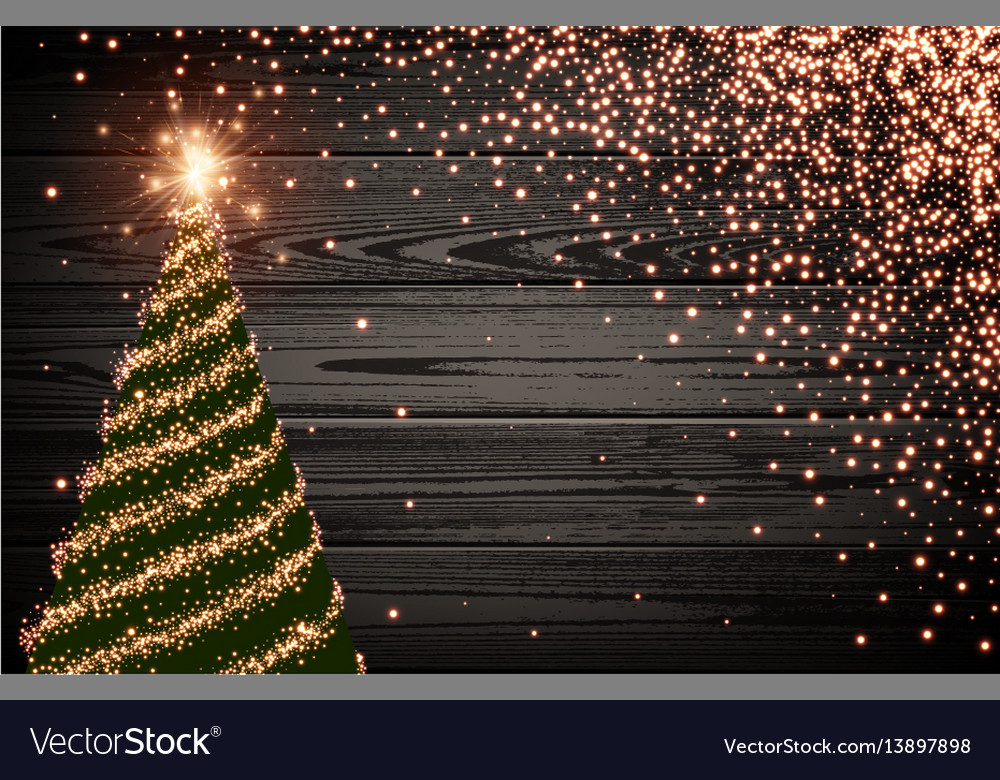 Wooden background with green christmas tree vector image