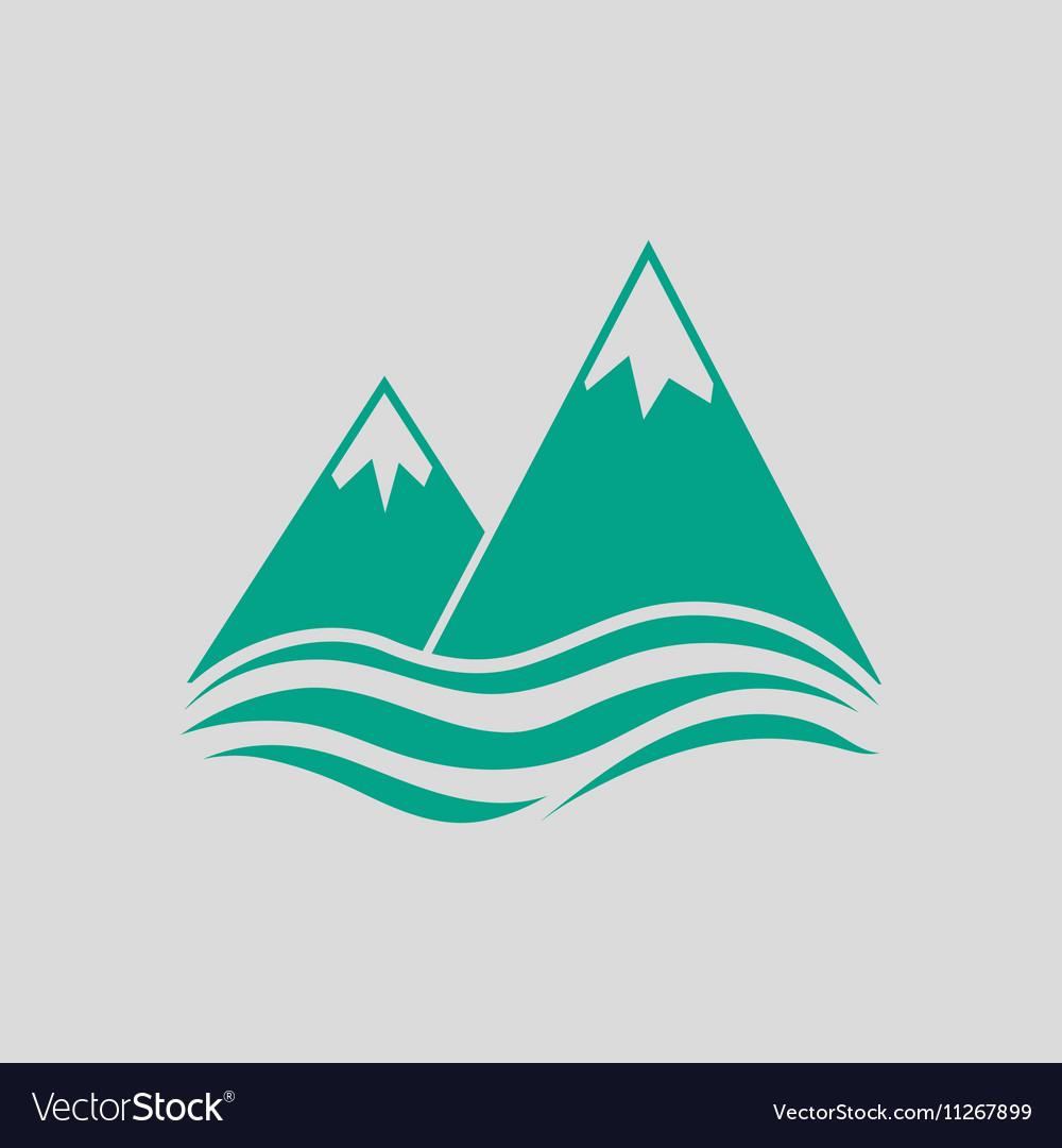 Snow peaks cliff on sea icon vector image