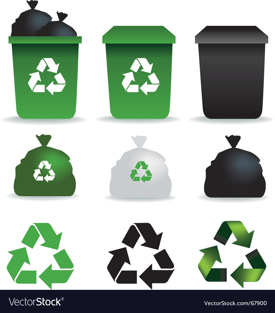 Bin bags and bins recycle vector image