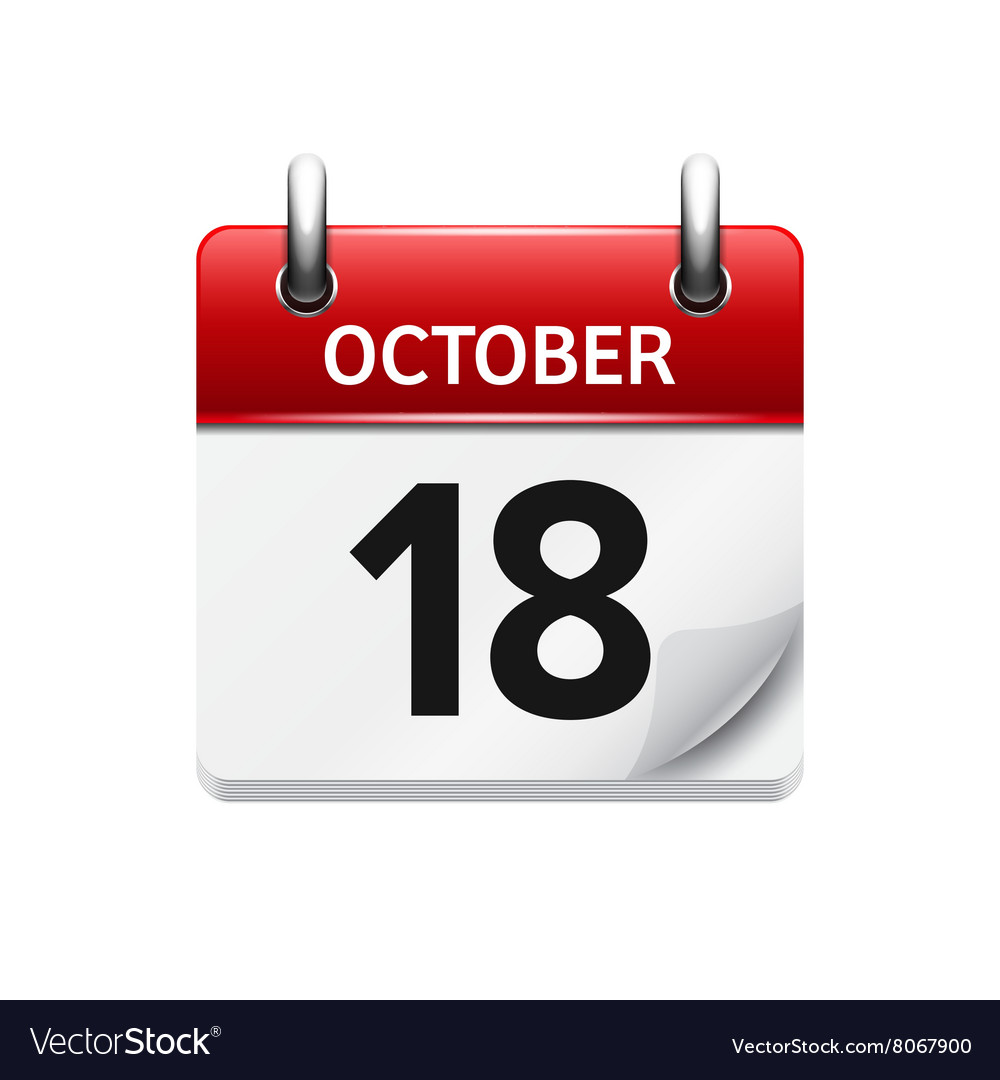 Exceptional October 18 Flat Daily Calendar Icon Date Vector Image