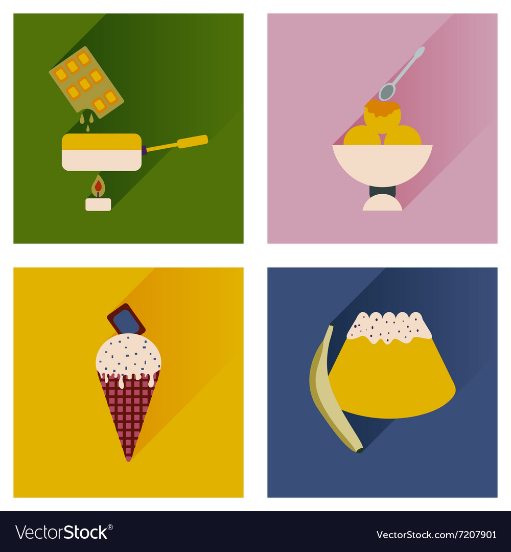 Flat icons collection with shadow sweet desserts