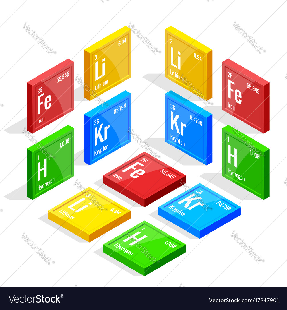 Isometric set of elements of the periodic table vector image