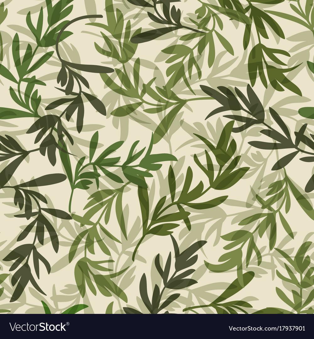 Vintage green leaves seamless pattern vector image
