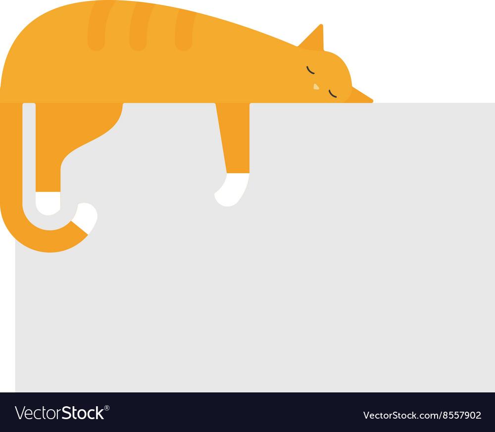 Cute cat sleeping on platform house feline vector image