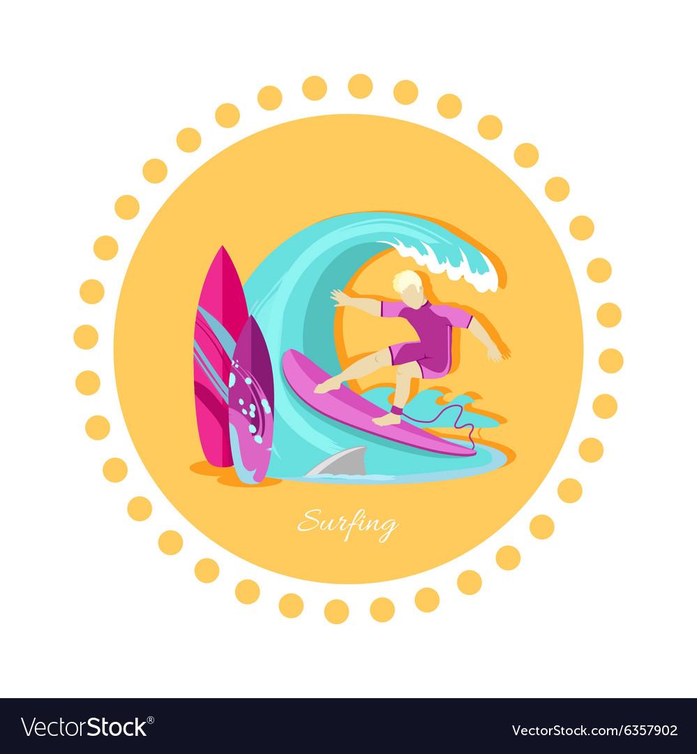 Surfing Sport Icon Flat Design vector image