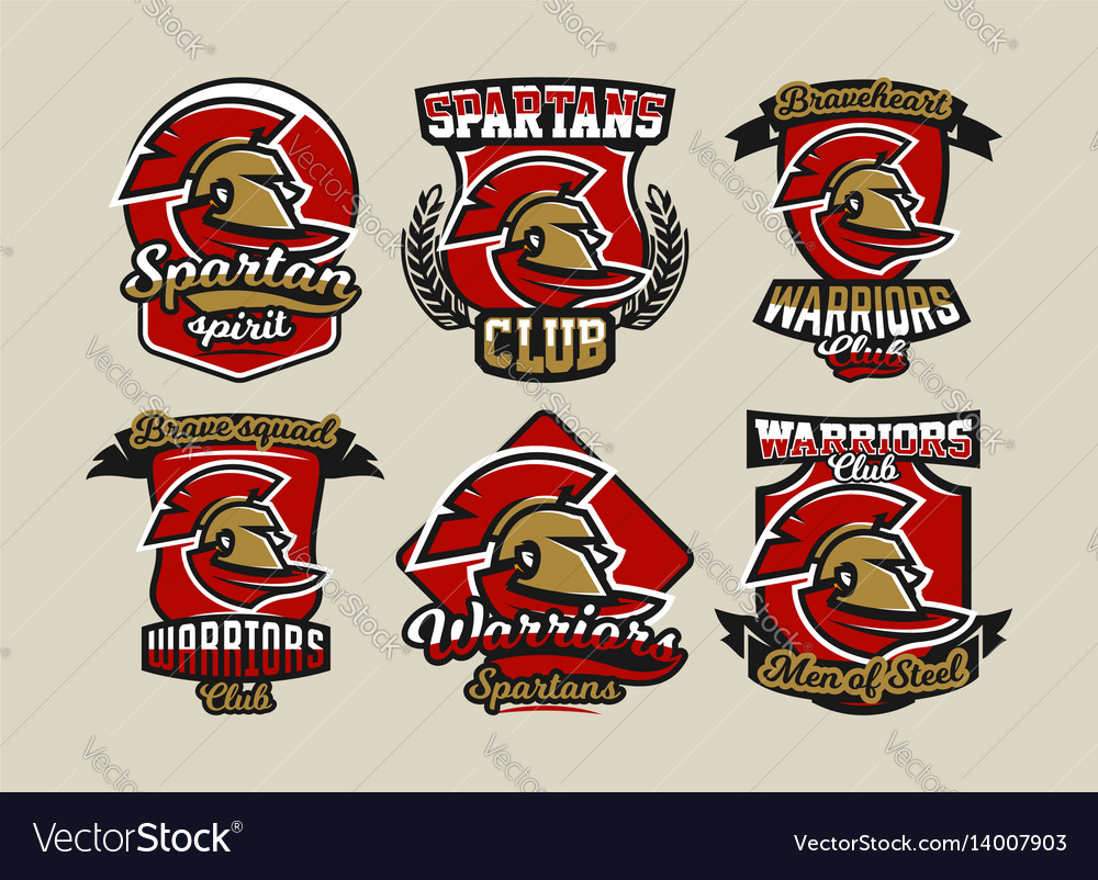Set of colorful logos emblems spartan helmet and vector image
