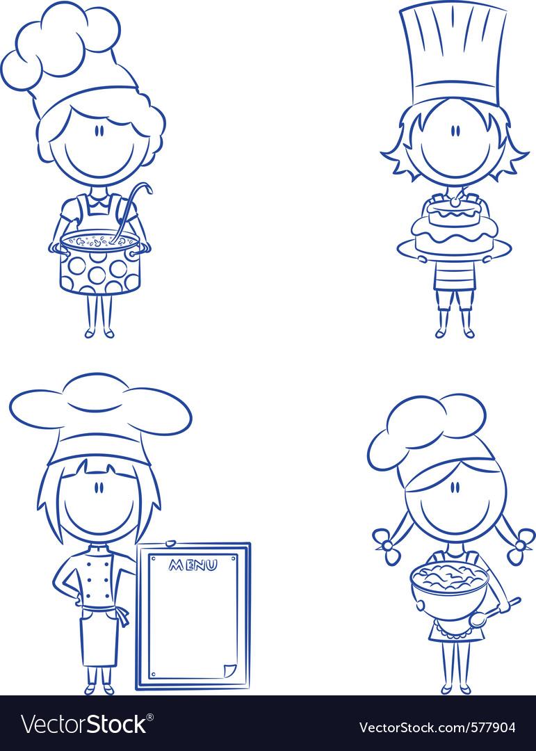 Cartoon chefs vector image