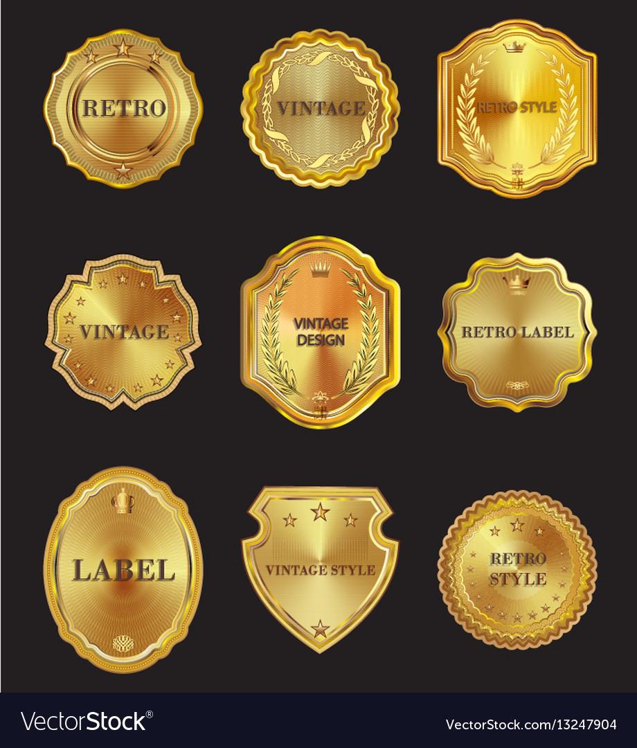 Set of golden metal design elements on black vector image