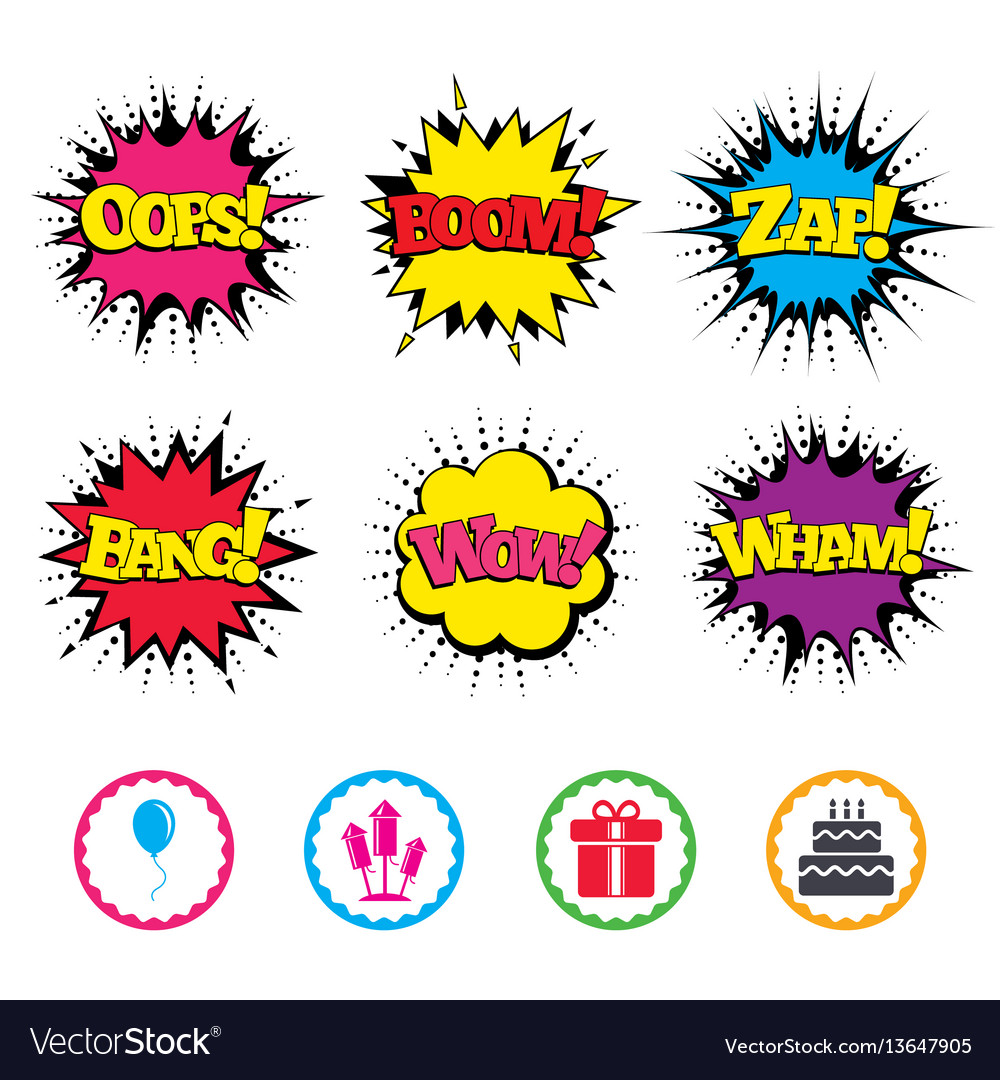 Birthday party icons cake and gift box symbol vector image birthday party icons cake and gift box symbol vector image biocorpaavc
