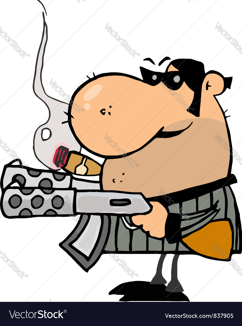 Gangster Man Holding Two Machine Guns vector image