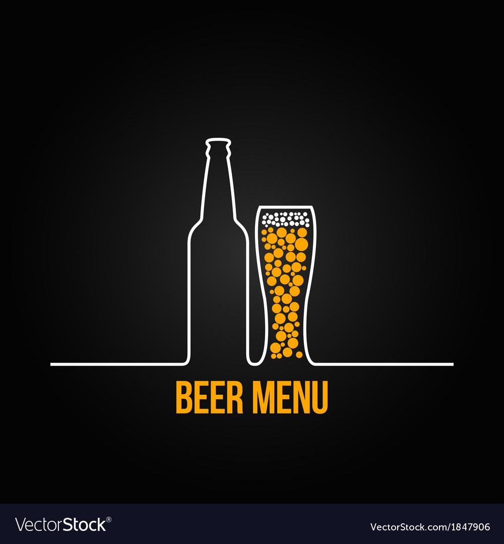 Beer bottle glass deign background vector image
