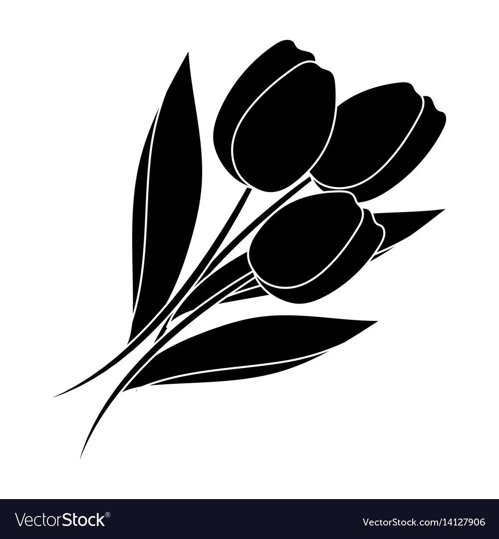 Bouquet of red tulips easter single icon in black vector image