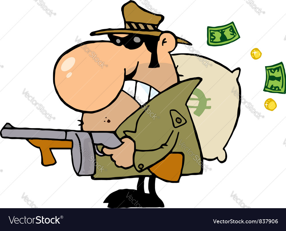 Gangster Man With His Gun And Bag Of Money Vector Image