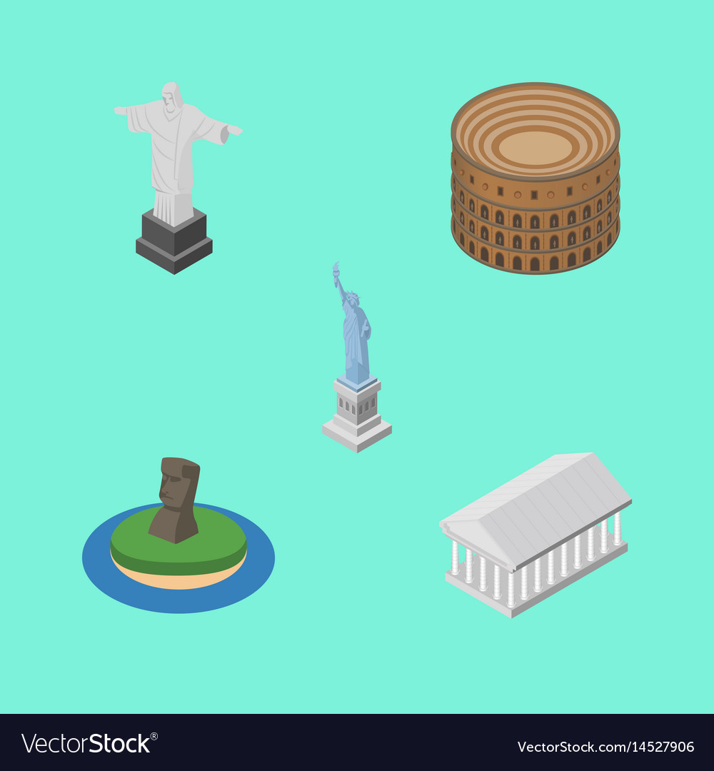 Isometric architecture set of coliseum rio chile vector image