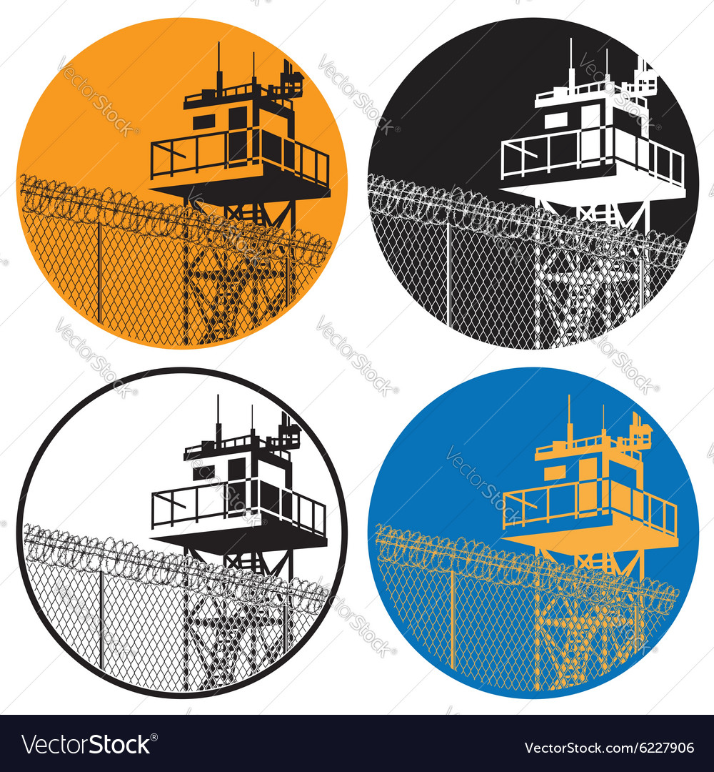 Watchtower and barbed wire vector image