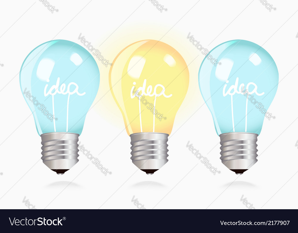 Two ordinary ideas and one creative idea vector image