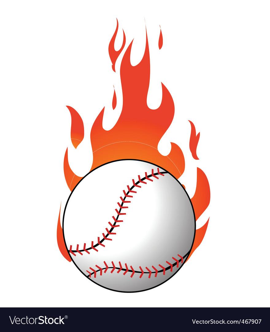 Flaming baseball Vector Image