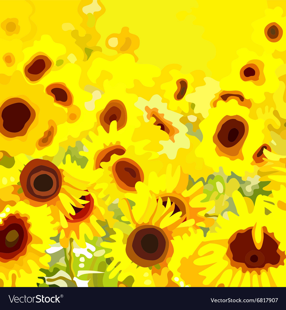 Background field with yellow flowers sunflower vector image