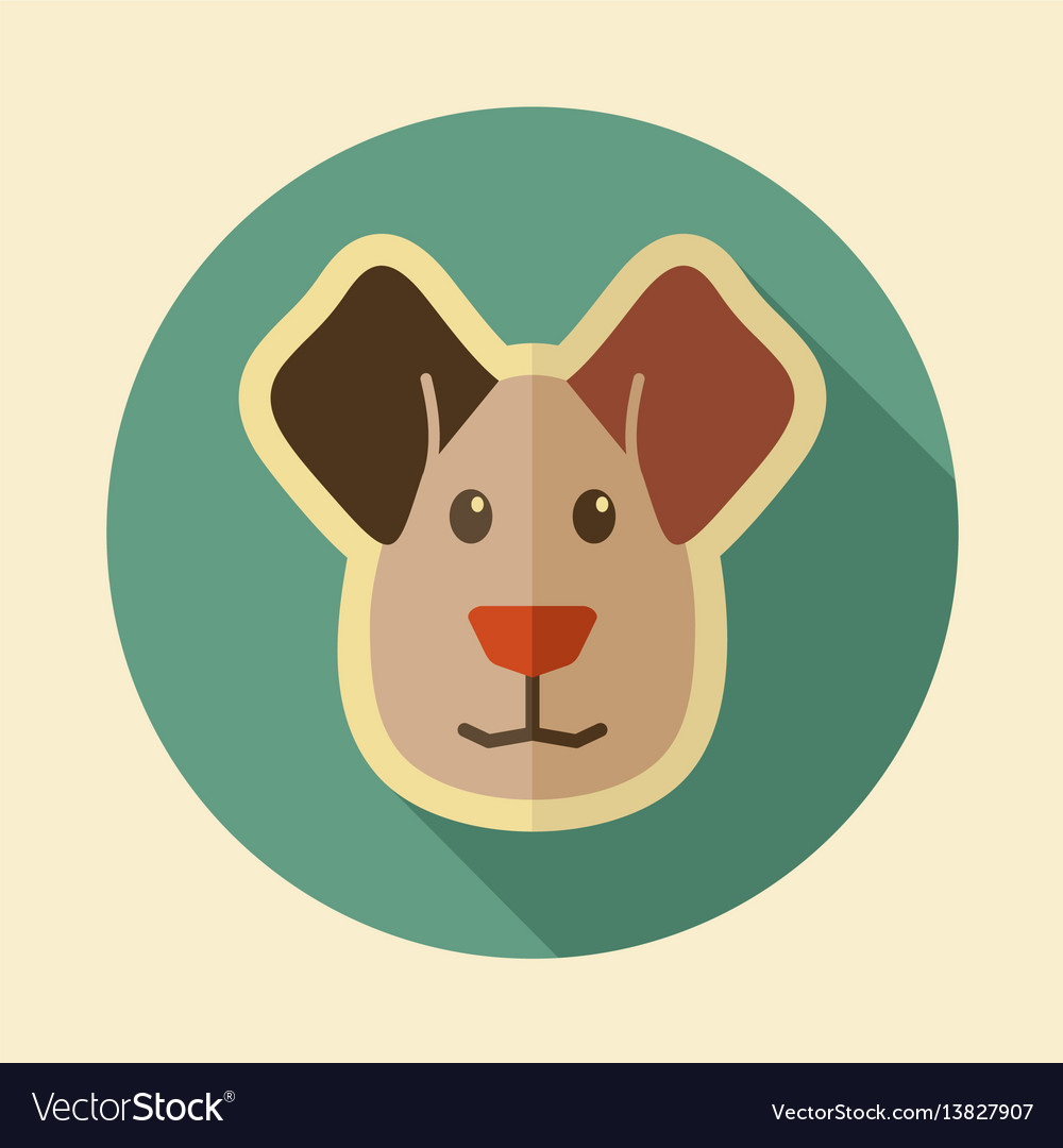 Dog flat icon animal head vector image